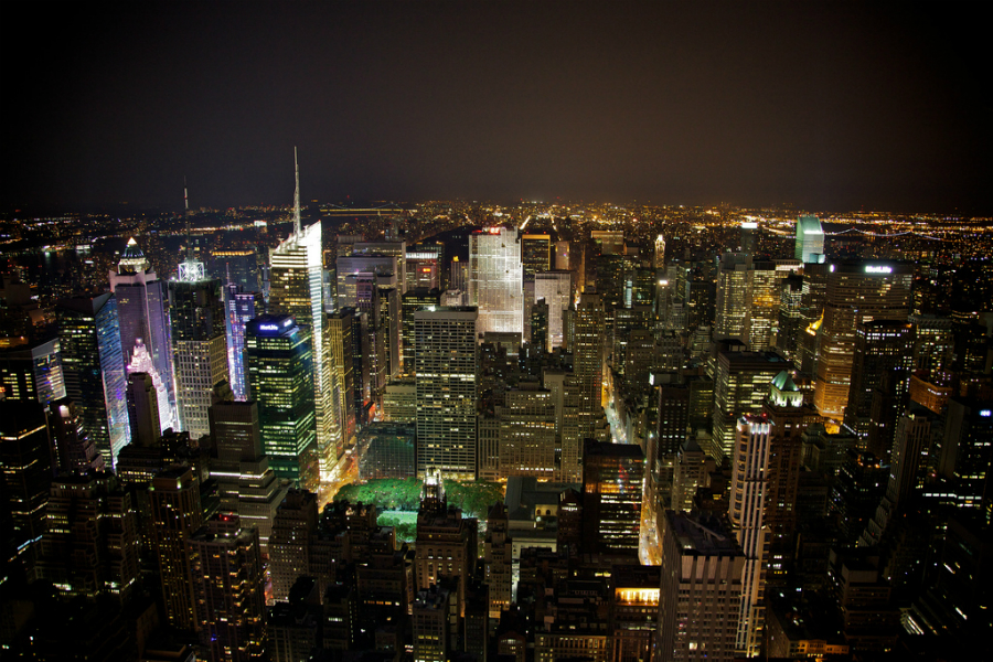 """Kashkore: A picture of the New York City skyline at night. """"Give Yourself Credit"""""""